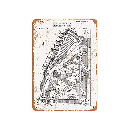 Fhdang Decor Vintage Muster 1888 Taschenrechner Patent Vintage Look Metallschild Aluminium Schild, metall, multi, 6x9 inches
