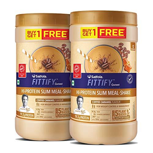 Saffola FITTIFY Gourmet Hi-Protein Slim Meal Shake - Coffee Caramel, 420 gm...