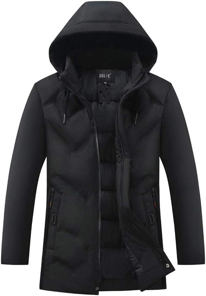 Men's Zipper Jacket with Hood Long Sleeve Warm Soft Winter Windproof Coat Outwear