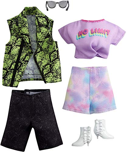 Barbie Fashion Pack with 1 Outfit 1 Accessory Doll, Tie Dye Shorts, 1 Each for Ken Doll, Snake Skin Shirt, Gift for 3 to 8 Year Olds