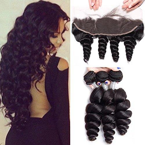 Maxine Hair Loose Wave Bundles with Lace Frontal 10A Grade Brazilian Loose Wave Bundles Virgin Human Hair Extensions with Lace Frontal Closure Natural
