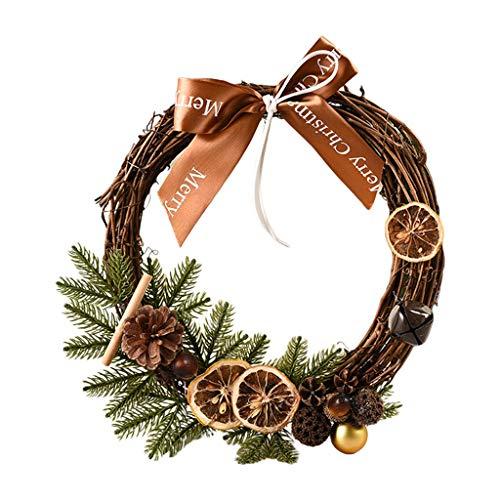 Cgration 30 cm Weihnachtskranz zum Aufhängen an der Haustür oder an der Wand mit künstlicher Kiefer Schleife Girlande für Party-Dekoration