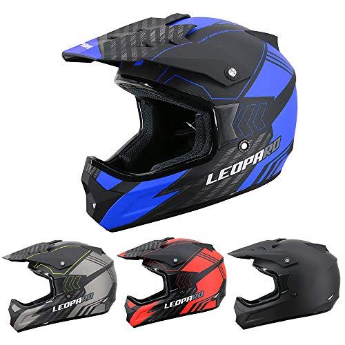 Leopard LEO-X307 Fullface Helm Motocrosshelme Integralhelm Motorradhelm Damen und Herren ECE Genehmigt Mattschwarz/Blau M (57-58cm)