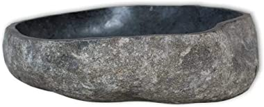 "vidaXL Basin River Stone Oval 14.9""-17.7"" Washbowl Bowl Sink Washroom Basin"