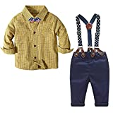 Baby Boy Dress Clothes 1 Year Old Birthday Outfits Kids Smart Plaid Shirt + Pants + Bow Tie Sets Yellow