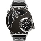MJSCPHBJK Men's Unique Analog Watch, Waterproof Fashion Dress Quartz Wrist Watch with Dual Dial Cool Design Leather Band Dual Time Watches