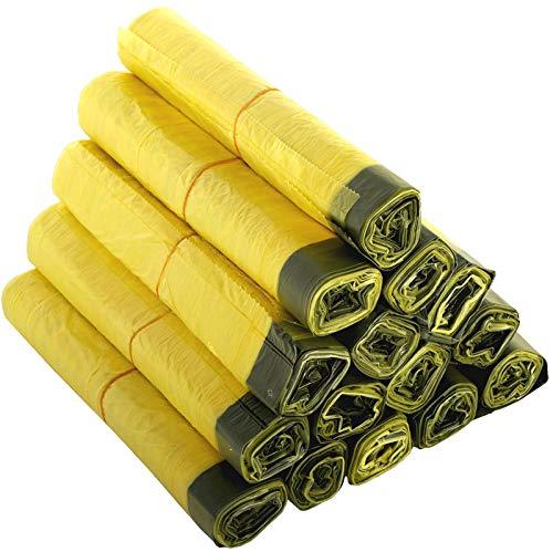 KK Verpackungen® Gelber Sack | 10 Rollen mit jeweils 13 gelben Säcken | 130 Wertstoffsäcke nach Dualem System Deutschland mit Zugband | Müllbeutel mit 90 L Volumen & aus LDPE-Folie