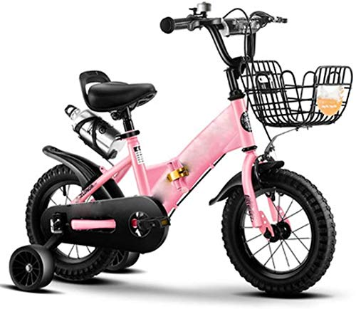 DXYSS Girls & Boys Kids Freestyle Bicycle Kids Bike 14-18 Inch Bicycle with Training Wheels for Ages 3 to 7 Years Old Boys and Girls (Color : Pink, Size : 12inch)