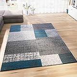 VIMODA Designer Tapis Poils Courts en Turquoise Bleu, Gris et Blanc à Carreaux Aspect Facile d'entretien, Dimensions: 120x...