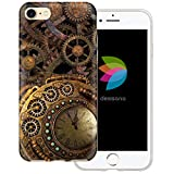 dessana Gear Wheels Transparent Protective Case Phone Cover for Apple iPhone 8 Toothed Wheel Steampunk