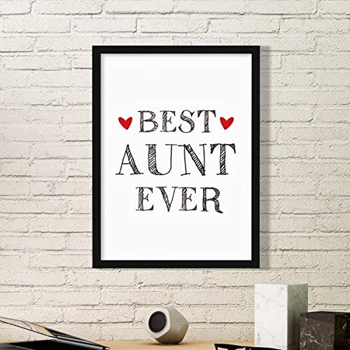 DIYthinker Mejor tía Ever de la Cita Familiares Simple de Fotos Marco de Cuadros Pinturas Pared del hogar de la Etiqueta del Regalo Medio Negro