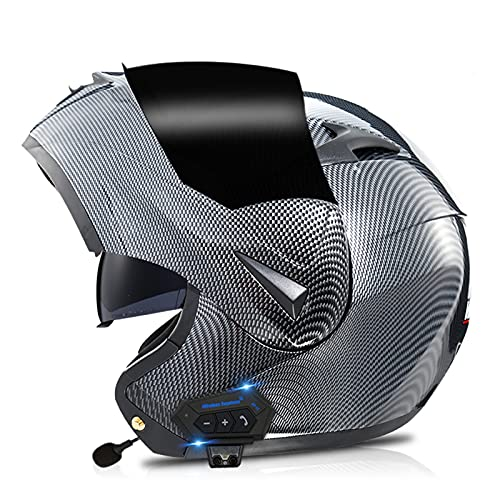 ZPTTBD Casco De Moto Modular Bluetooth Integrado, ECE Homologado Cascos Motocicleta Scooter Integrado con HD Anti Niebla Doble Visera para Mujer Hombre (Color : A3, Size : (XS=53-54CM))