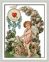 クロスステッチ刺繍キット 図柄印刷 初心者 ホームの装飾 刺繍糸 針 布 11CT Cross Stitch ホームの装飾 キューピッドエンジェルラブ 40x50cm