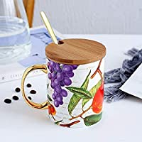 ミニマリストボーンチャイナマグオフィス大容量セラミックコーヒーカップ、スプーン蓋付き300-400ML A