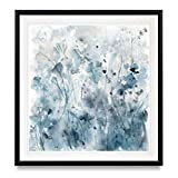 Renditions Gallery Misty Wildflower Morning Contemporary Artwork Blue Art Framed Landscape Painting Giclee Canvas Prints Wall Decor, 28X28, Black…