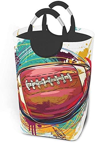 Tvätt hämmar smutsiga klädpaket Ritning av amerikansk fotboll vikbar tygklädväska tvättkorg