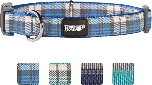 Friends Forever Plaid Dog Collar for Dogs, Fashion Woven Checkers Pattern, Cute Puppy Collar, Blue Medium 14-20'