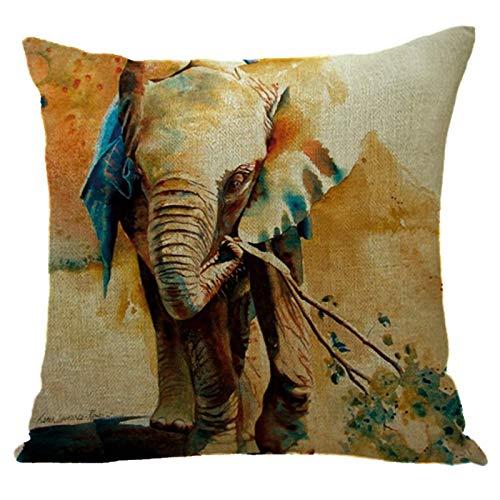 Daaimi Bunter Elefanten Serie Leinen Kissenbezug böhmischen Sofa Kissenbezug Kissenbezug weich und bequem für Auto Wohnzimmer Schlafzimmer Dekoration