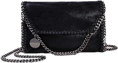 Bolso Casual para Mujer Bolso de Hombro de Cuero de PU Bolso de Cadena Bolso de Mano de Moda (Cadena Negro Negro)