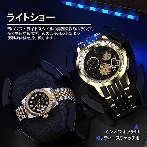 INCLAKE INCLAKE ワインディングマシーン腕時計自動巻き器ウォッチワインダー2本巻き上げ,中に LED ライト付き, 蓋を開ける時、作業が中止されますので、腕時計を取るにはとても便利です 松樹皮色