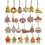Dulau 23 Pezzi Mini Ornamenti D'Attaccatura di Albero di Natale, Omino di Pan di Zenzero Fiocchi di Neve Pupazzo di Neve Natale Ornamenti Pendenti, per Albero di Natale Decorazione