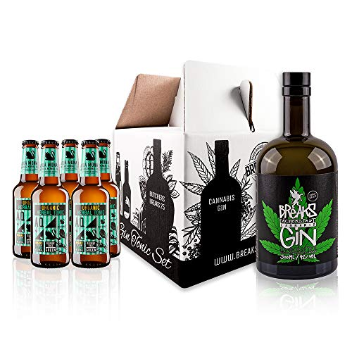 Breaks CANNABIS Gin - Genießer Set - 1 x 0,5 L Flasche Breaks Gin Cannabis + 5 Flaschen Aqua Monaco - Tonic Water - Handmade - Gin Tonic Set