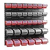 boîtes avec couvercle et étagère murale 80 x 80 cm (rouge / noir)