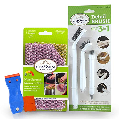 Stove Top Cleaner Kit for Glass Cooktop, Ceramic Cooktops, Gas & Electric Stoves – Set Includes Small Cleaning Brushes for Detailing, Non-Scratch Scouring Cloths and Plastic Safe Scraper