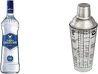 Gorbatschow Wodka 3 x 0.7 l mit Cocktail Shaker aus Glas mit Edelstahl Aufsatz und Cocktailrezepten