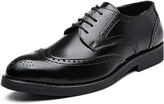 Zapatos casuales Zapatos de Oxford de los hombres, zapatos de vestir de encaje tallados cuadrados clásicos, tacón de punta...