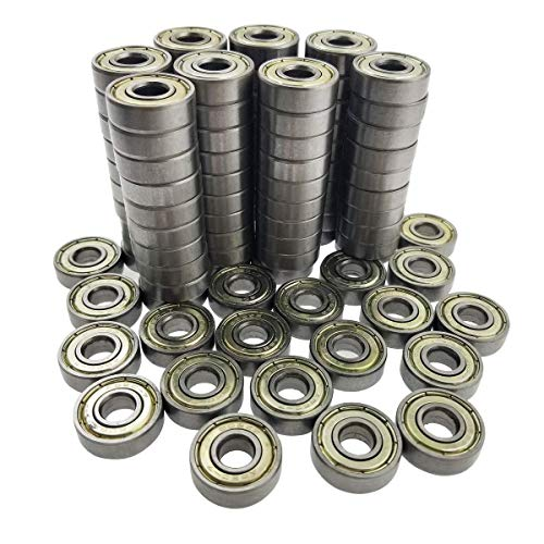 ZooTek 100 PCS 608 ZZ Skateboard Bearings, Double Shielded,8x22x7 Miniature Ball Bearings