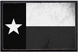 Texas State Flag - Distressed - Black/White Morale Patch | Hook and Loop Attach for Hats, Jeans, Vest, Coat | 2x3 in | by Pull Patch