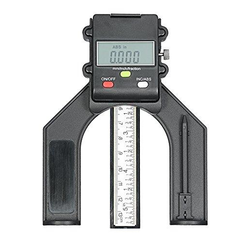 KKmoon Tiefenmesser Tiefenmessgerät 0-130mm Digital LCD Display Höhenmessgerät Tischsäge Höhenmessgerät mit Drei Maßeinheiten Verriegelungsschraube für Holzbearbeitung Router Tisch