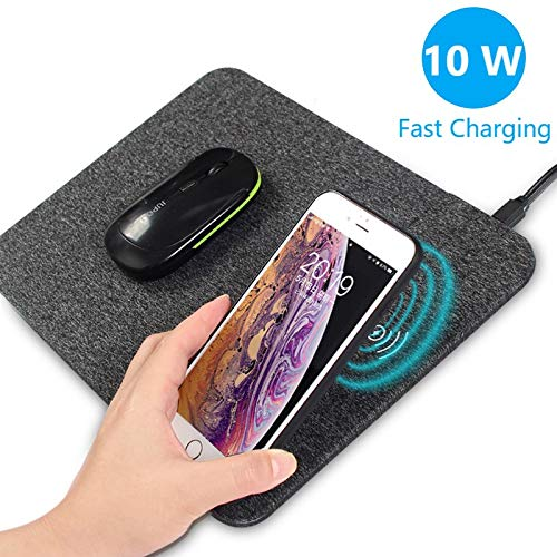 AmyZone Fast Wireless Charging Mouse Pad Fabric Qi Certified Case-friendly 10w Large Wireless Charger Gaming Mouse Mat for iPhone 11 Pro/Xs...