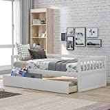 Merax Solid Wood Twin Size Platform Bed Frame for Kids/No Box Spring Needed Daybed, White(Drawers)