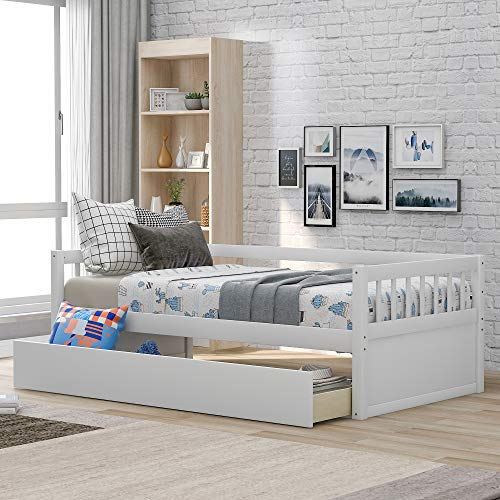 SOFTSEA Wood Daybed Frame with Inseparable 2 Drawers, Capatain's Bed for Bedroom/Living Room/Guest Room (White, Twin)