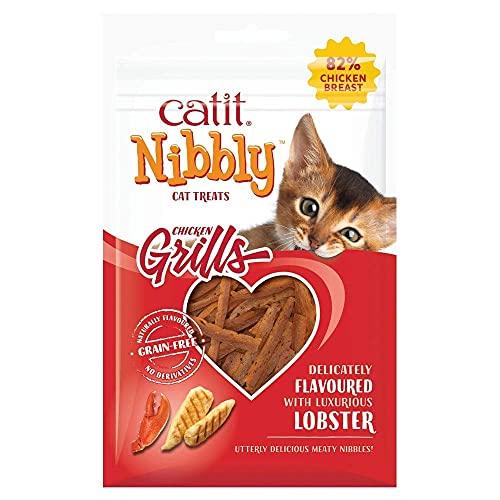 Catit Nibbly Grills, Kaustreifen aus Hühnchen und Hummer, für Katzen, 30g