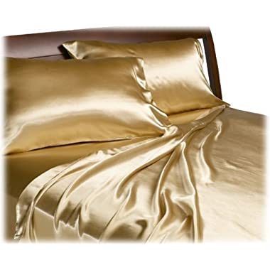 Mk Collection 2pc Soft Silky Satin Solid Gold Standard/Queen Pillow Cases Set New