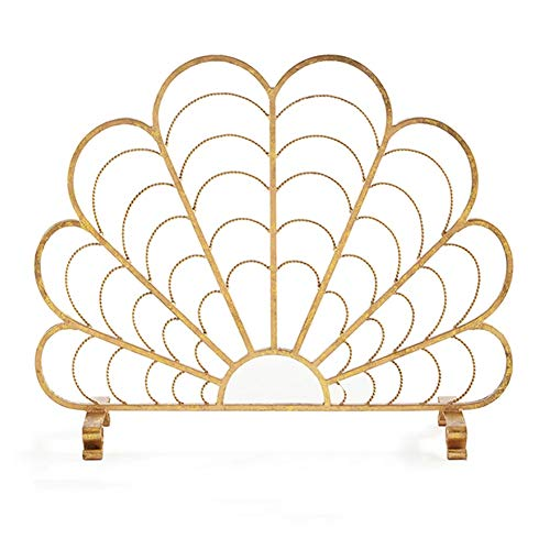 Buy Discount Fireplace Screens YXX- Gold Vintage, Single Panel Flat Spark Guard for Wood Fireplace &...