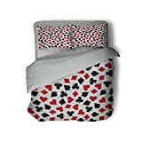 Luoiaax Poker Extra Large Quilt Cover Heart Spades Diamonds and Clubs Pattern in Playing Card Suit Themed Illustration Can be Used as a Quilt Cover-Lightweight (King) Red Black White