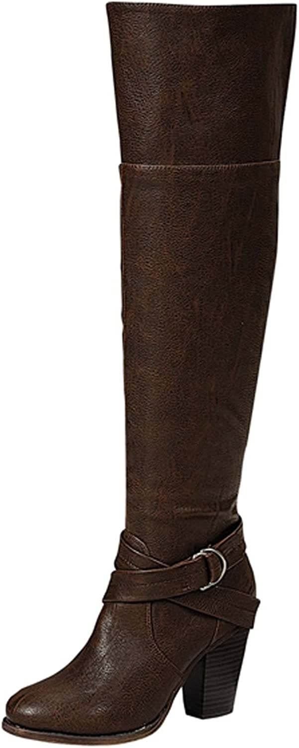 Breckelles Women's Strappy Over The Knee Chunky Stacked Heel Riding Boot