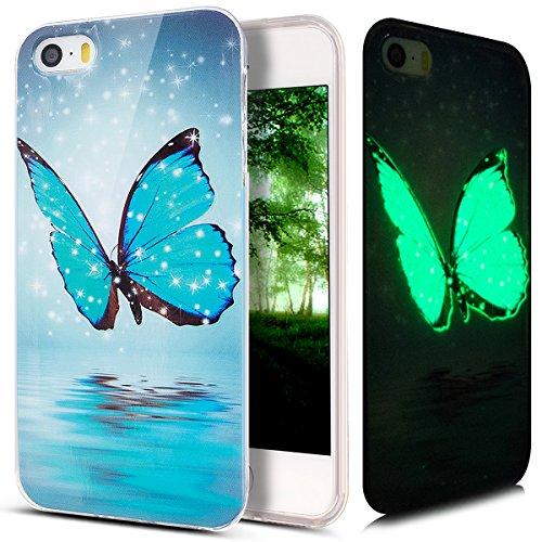 Kompatibel mit iPhone 5S Hülle,iPhone SE Hülle,iPhone 5 Hülle,Bunte Gemalt [Leuchtend Luminous] Handyhülle TPU Silikon Hülle Handy Hülle Case Tasche Schutzhülle für iPhone SE/5S/5,Blau Schmetterling