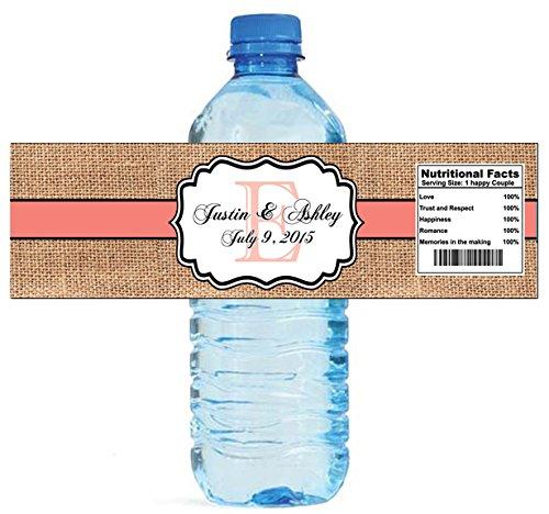 "100 Burlap Coral Stripe Monogram Wedding Water Bottle Labels Great for Engagement Bridal Shower Party 8""x2"""