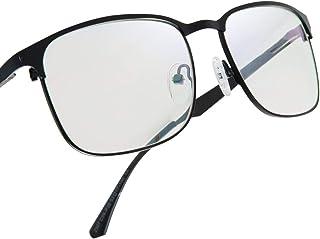 Leaead Blue Light Blocking Glasses BluErase Lens Metal Frame Anti Eyestrain Anti-UV Computer/Gaming/TV/Phones Glasses for Women/Men(Matte Black)