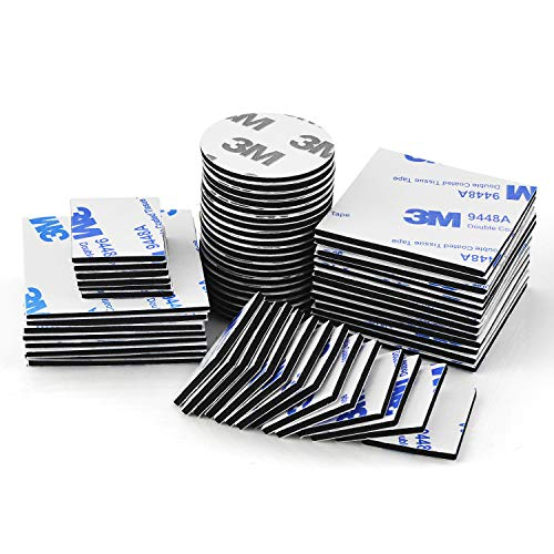 Heatigo Doppelseitige Klebepads, 60 schwarze Quadrate und runde, doppelt klebende Schaumstoffpads Starkes Klebeband für Wände und, BödenTüren,Gläser, Kunststoffe, Metalle.