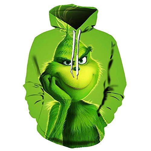 MUJOELE Monster 3D Spoof - Sudadera con capucha para hombre y mujer Monstruo de pelaje verde B. XXXL