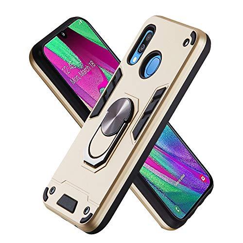 FAWUMAN Hülle für Samsung Galaxy A40 mit Standfunktion, PC + TPU Rüstung Defender Ganzkörperschutz Hard Bumper Silikon Handyhülle stossfest Schutzhülle Case (Golden)