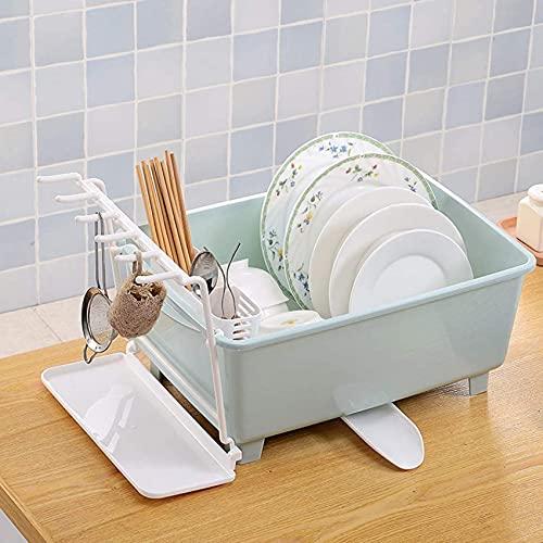 Bedspread Rejilla para Platos de Cocina con Tubo de Drenaje Inferior Rejilla para Secado Bandeja para vajilla Rejilla para escurrir Lavaplatos de Alta Capacidad para estantes del hogar, Color Rosa