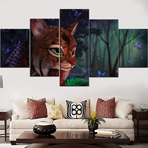 LOVEQ 5 Piece Wall Decor Canvas Art HD Fantasy Cat and Tree Butterfly HD Print Abstract Prints Modern Home Bedroom Wall Decorations Inspirational Wall Art Posters Artwork
