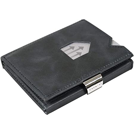 EXENTRI Leather Trifold Wallet - RFID Blocking w/Stainless Steel Locking Clip